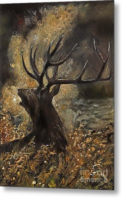 the Stag sitting in the grass oil painting Metal Print by Angel  Tarantella