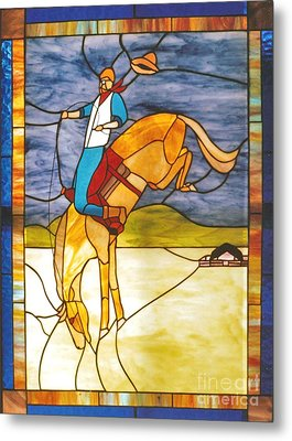 The Stained Glass Cowboy Riding Out The Bucks Metal Print by Patricia Keller
