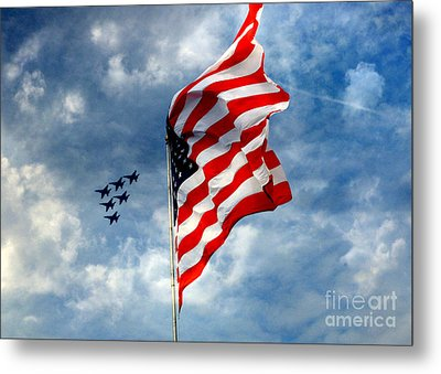 The Star Spangled Banner Yet Waves Metal Print