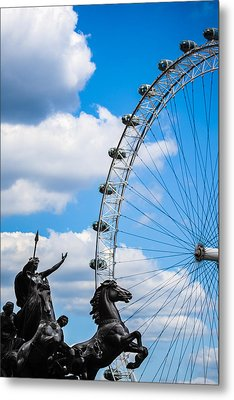 The Statue Of Boadicea Standing In Front Of The London Eye In England Metal Print by Nila Newsom