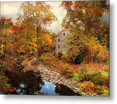 The Stone Mill In Autumn Metal Print by Jessica Jenney