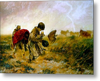 Metal Print featuring the painting The Storm by Henryk Gorecki
