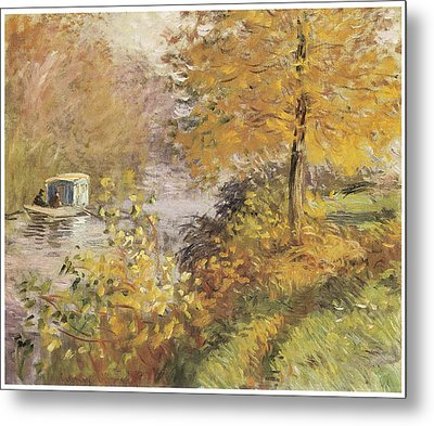 The Studio Boat Metal Print by Claude Monet