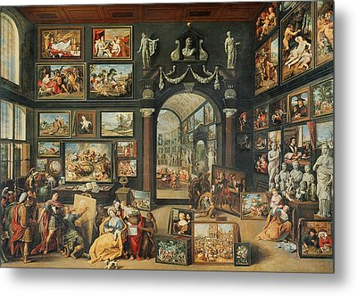 The Studio Of Apelles Oil On Panel Metal Print by Willem van II Haecht
