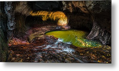 The Subway At Zion National Park - Pano Version Metal Print by Larry Marshall