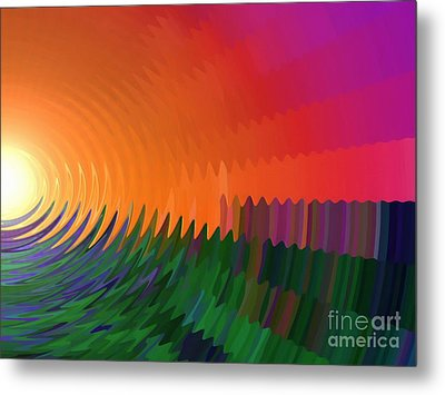 Metal Print featuring the painting The Sun Drops Into The Horizon by Pet Serrano