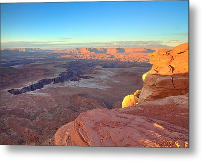 The Sun Sets On Canyonlands National Park In Utah Metal Print by Alan Vance Ley