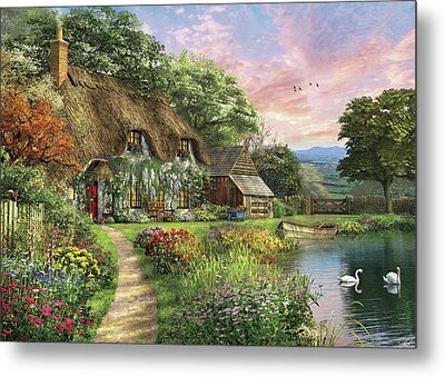 The Sunset Cottage Metal Print