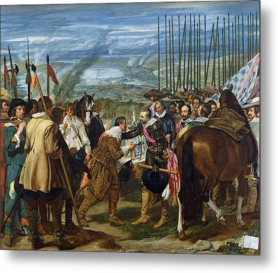 The Surrender Of Breda, 1625, C.1635 Oil On Canvas See Also 68345 Metal Print by Diego Rodriguez de Silva y Velazquez