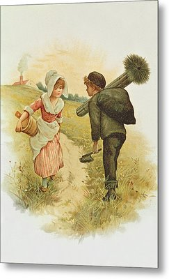 The Sweep And The Milkmaid Book Illustration Metal Print by Anonymous