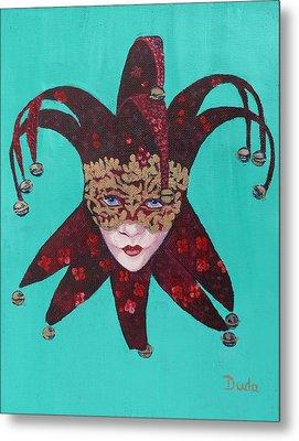The Sweetheart Of Arlecchino Colombina Venitian Mask Metal Print by Susan Duda