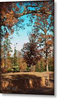 The Swing With Red Bicycle - Davidson College Metal Print by Paulette B Wright