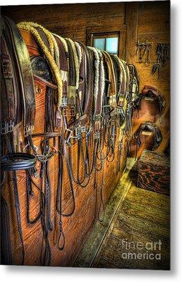 The Tack Room - Equestrian Metal Print by Lee Dos Santos