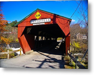 The Taftsville Covered Bridge.  Metal Print by New England Photography