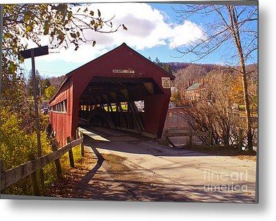 The Taftsville Covered Bridge. Metal Print by Stan Amster
