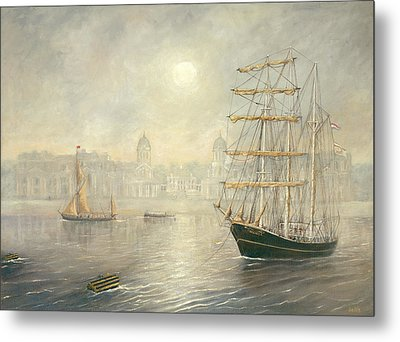 The Tall Ship Thalassa By The Old Royal Naval College Greenwich Metal Print by Eric Bellis