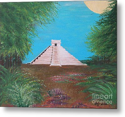 Metal Print featuring the painting The Temple Of Kukulcan by Alys Caviness-Gober