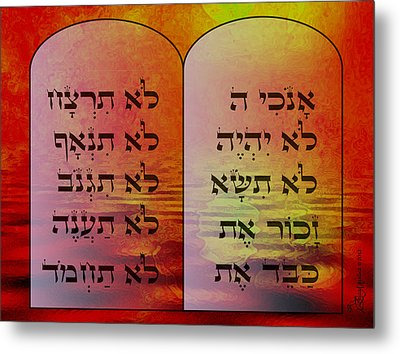 The Ten Commandments - Featured In Comfortable Art Group Metal Print by EricaMaxine  Price