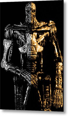 The Terminator Silver And Gold Metal Print by Tommytechno Sweden