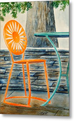The Terrace Chair Metal Print by Thomas Kuchenbecker