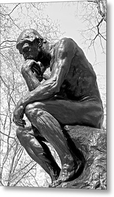 The Thinker In Black And White Metal Print by Lisa Phillips