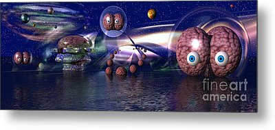 Metal Print featuring the digital art The Thinker by Jacqueline Lloyd