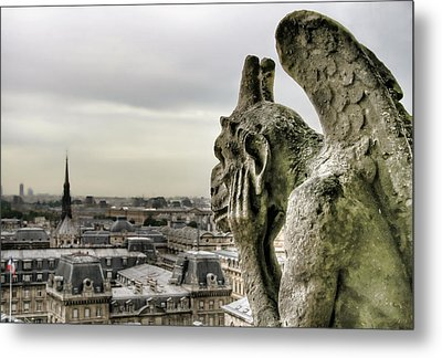 Metal Print featuring the photograph The Thinking Gargoyle by Brent Durken