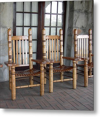 The Three Chairs Metal Print by Denyse Duhaime