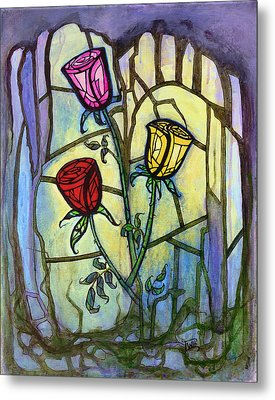 Metal Print featuring the painting The Three Roses by Terry Webb Harshman