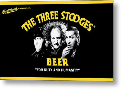 The Three Stooges Beer Metal Print by Official Three Stooges