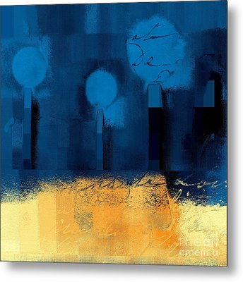 The Three Trees - J036076170-blue Metal Print by Variance Collections