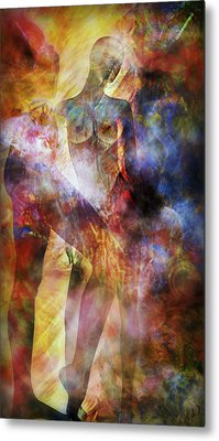 Metal Print featuring the mixed media The Touch by Ally  White