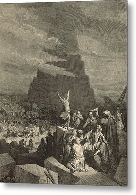 The Tower Of Babel Metal Print by Antique Engravings