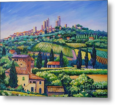 The Towers Of San Gimignano Metal Print by John Clark