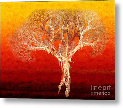 The Tree In Fall At Sunset - Painterly - Abstract - Fractal Art Metal Print by Andee Design