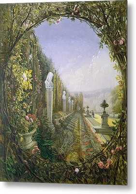 The Trellis Window Trengtham Hall Gardens Metal Print by E Adveno Brooke
