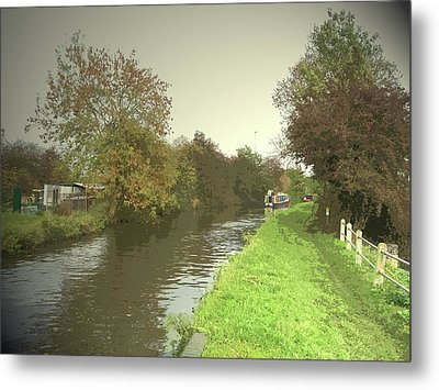 The Trent And Mersey Canal Near Clay, Autumnal Towpath Metal Print by Litz Collection