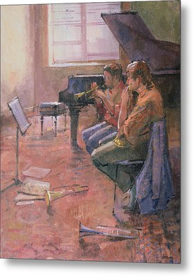 The Trumpet Lesson, 1998 Oil On Canvas Metal Print by Bob Brown