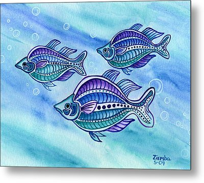 The Turquoise Rainbow Fish Metal Print