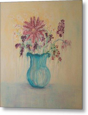 The  Turquoise Vase Metal Print by Kathy Peltomaa Lewis