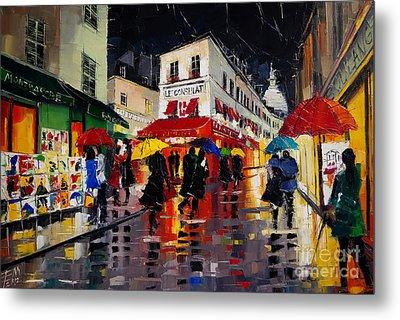 The Umbrellas Of Montmartre Metal Print