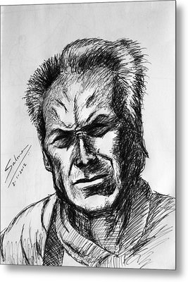 Metal Print featuring the painting Clint Eastwood by Salman Ravish