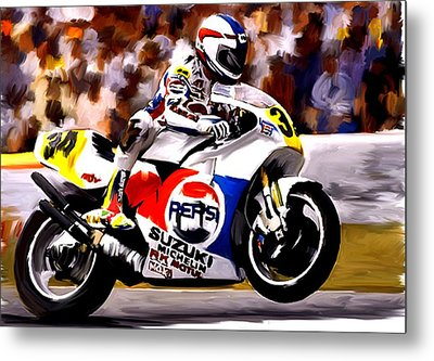 The Unleashing   Kevin Schwantz Metal Print by Iconic Images Art Gallery David Pucciarelli