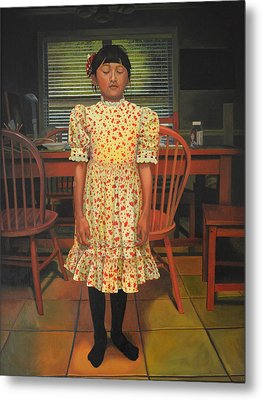 Metal Print featuring the painting The Valentine Dress by Thu Nguyen