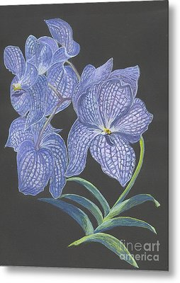 Metal Print featuring the painting The Vanda Orchid by Carol Wisniewski