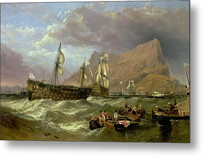 The Victory Towed Into Gibraltar Metal Print by Clarkson R A Stanfield