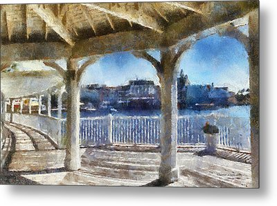 The View From The Boardwalk Gazebo Wdw 02 Photo Art Metal Print by Thomas Woolworth