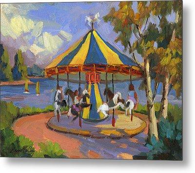 The Village Carousel At Lake Arrowhead Metal Print by Diane McClary