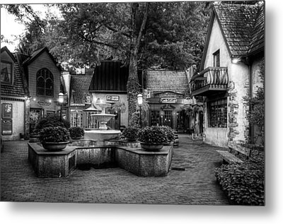 The Village Of Gatlinburg In Black And White Metal Print by Greg and Chrystal Mimbs