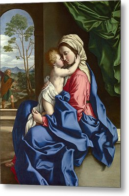 The Virgin And Child Embracing Metal Print by Sassoferrato